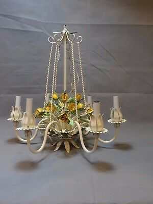 Large Antique 6 Arm Cream Hand Painted Metal Tole Chandelier Lamp 6 Arm Italian