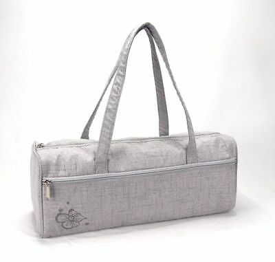 Knitting Bag Wool / Yarn / Craft Storage Bag Light Grey with Embroided Flower