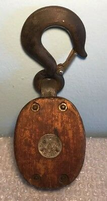 Antique Block and Tackle Single Pulley ~ Madesco Products Easton, PA 3/4 Ton