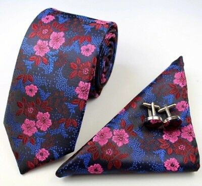 New Blue & Pink Floral Silk Tie, Pocket Square & Cufflinks Set. Great Reviews.