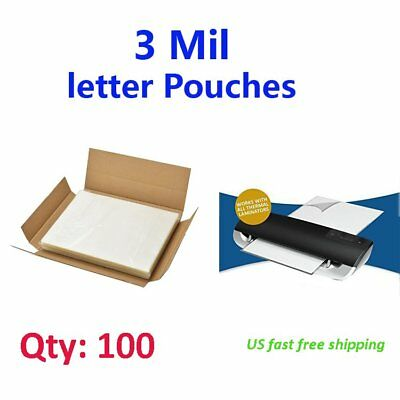 3 Mil Qty100 Letter Size Thermal Laminating Pouches - 9 x 11.5 Sheet US Shipping