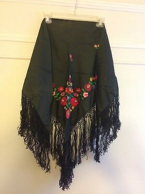 Folk Costume Shawl Scarf embroidered ethnic dark green floral Hungarian european