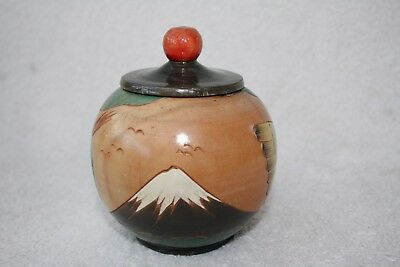 Small Vintage Carved Japanese, Painted  Wood Bird Decorated Lidded Pot
