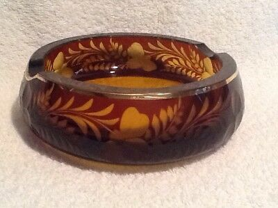 ~Vintage Bohemian Ruby Red Cut To Clear Amber Czech Art Glass Ashtray~Heavy!~