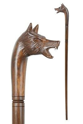 WOLF wooden walking stick / cane - Hand carved from hardwood - BOXED ITEM