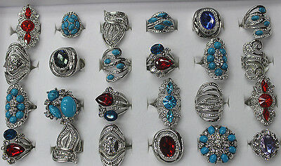 30pcs Wholesale Jewelry Lots Assorted Style Lady's Fashion Silver P  Rings AH470