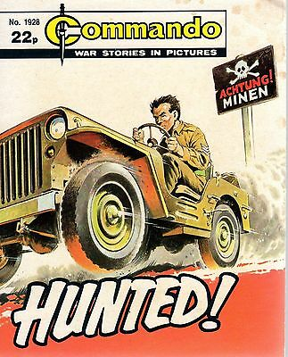 HUNTED ! No 1928  1985 70659 COMMANDO COMIC WAR STORIES IN PICTURES