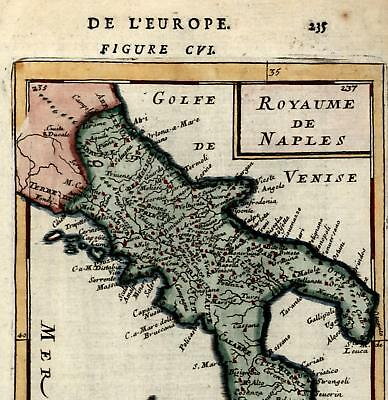 Kingdom of Naples Southern Italy Sicily Italia Napoli 1719 old Mallet map
