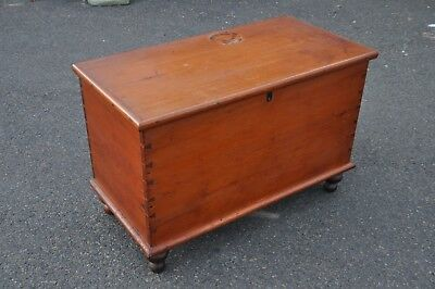 Antique Pine Six Board Blanket Chest With Bun Feet