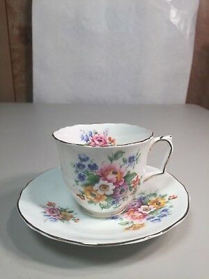 Crown Fine Bone China Flora Cup And Saucer Staffordshire England