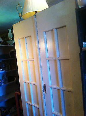 vintage Pair Painted Wood Raised Panel POCKET DOORS Architectural Salvage art