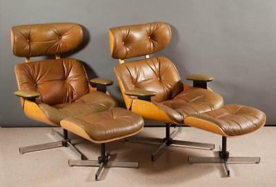 A PAIR OF MID-CENTURY MODERN LOUNGE CHAIRS AND MAT Lot 115