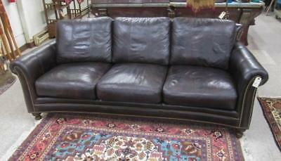 DARK BROWN LEATHER SOFA, Bradington-Young, Hickory Lot 221
