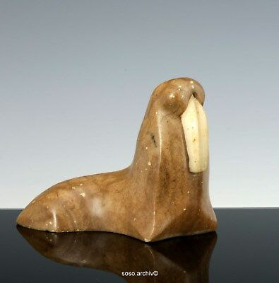 Walrus Stone 1960 Native Type GREENLAND ESKIMO ART MIDCENTURY CARVED WALRUS