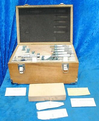 "Mitutoyo 103-907-01 OMST-6"" V In Wooden Original Box 6 Total Micrometers"