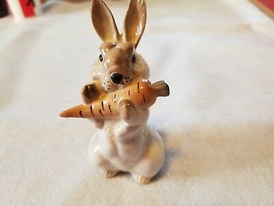 Lomonosov Rabbit Bunny standing with carrot, 4 inches, Made in Russia