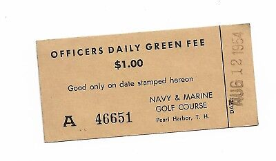 1952 Ww2  Pearl Harbor Navy Marine  Base Chit For Green Fee    # 541