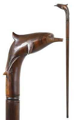 DOLPHIN wooden walking stick / cane - Hand carved from hardwood - BOXED item