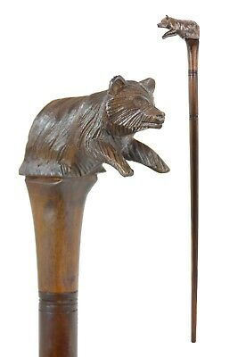 BEAR wooden walking stick / cane - Hand carved from hardwood - BOXED item