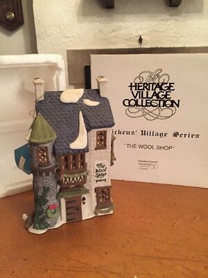 """Dept 56 Dickens Village """"The Wool Shop"""", #5924-2 With Box And Cord"""