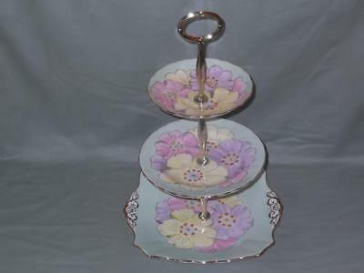 Vintage Plant Tuscan 3-Tier Hostess Cake Plate Stand Lotus Flower Pattern 7424