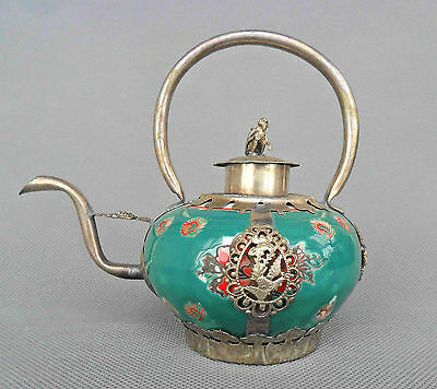 Collectible Chinese Porcelain & Miao Silver Carved Dragon Phoenix Lucky Tea pot
