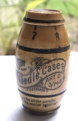 Antique Needle Case Shaped Like Barrel In Mint Condition