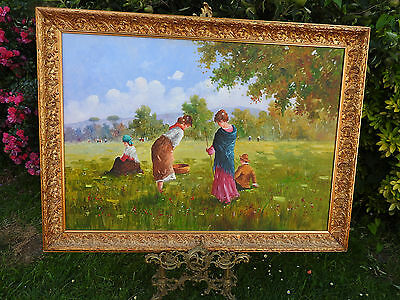 Very-very large original painting on canvas,gilt framed,signed R.Capozzi