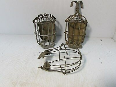VINTAGE WIRE METAL LIGHT Bulb CAGE GUARD Industrial lot of 3  ( G5B)