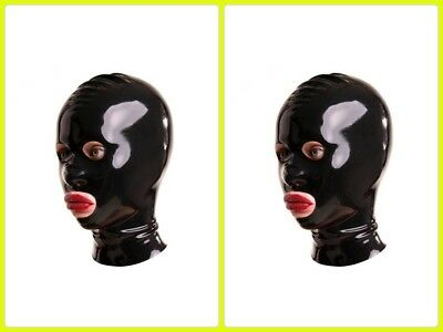 Exlatex Latex Rubber Mask Hood With Eye Mouth And Nostril Holes Large Black