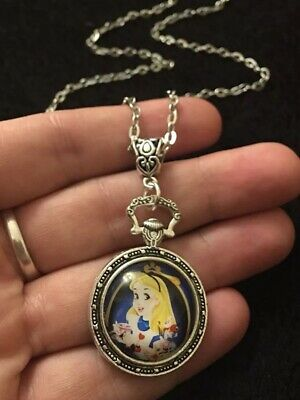 "Alice in Wonderland Necklace 24"" we're all mad here drink me Pocket Watch Rabbit"