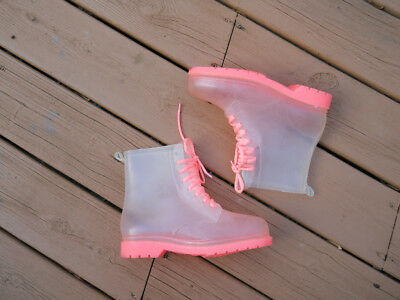 Vintage PUNK STYLE Clear and Pink Rubber Combat Boots 9/40