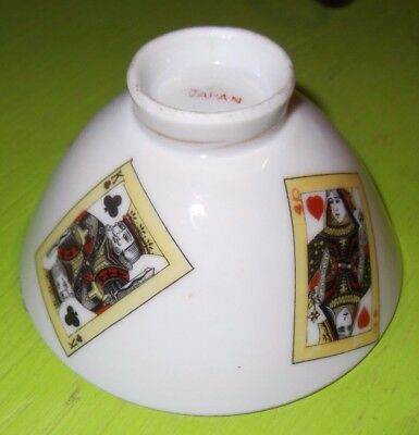 Japan Porcelain ?  Bowl Playing Cards Gold Trim Fragile King Queen Joker