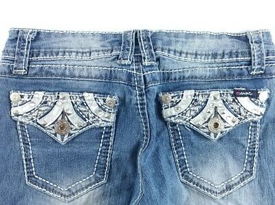 Angels Girls Kids Jeans Skinny Ankle Size 7 Button Flap Thick Stitch (BD2)