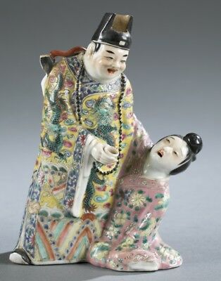 Chinese Porcelain Wine Pot Man offering wine to drunk courtesan ca. 19-20th  c