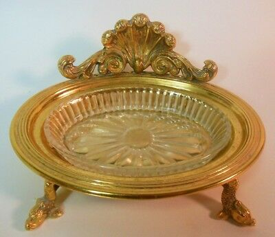 Vtg SOAP DISH Vanity Bathroom Brass Gold Tone Shell DOLPHIN French Rococo