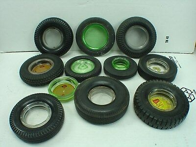 Vintage 20s 30s 40s 50s Assorted Tire rubber / glass Ashtrays Good Starter Set