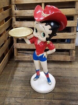 """Betty Boop 36"""" Statue Figurine Figure Cowgirl w/ Tray Table"""