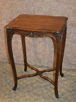 Antique Carved Solid Oak French Side Table