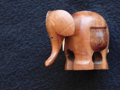 Hand carved wooden collectible elephant toothpick holder tusks