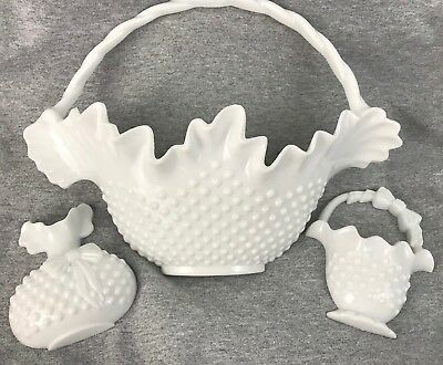 Vintage Homco Home Interiors White Hobnail Baskets Plastic Wall Decor