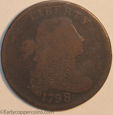 1798 S149- RARE R4+ Draped Bust Large Cent Raw GOOD Starts 1-cent NO-RESERVE!