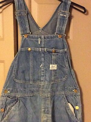 Vintage 1940's-50's Lee Jelt Sanforized Denim Overalls Workwear Faded Patches