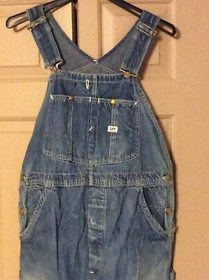 Vintage 1940's-50's Lee Jelt Sanforized Denim Overalls Workwear Faded Worn