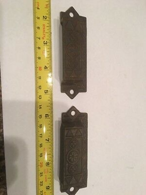 Pair Antique Vintage Eastlake Victorian Drawer Bin Cupboard Pulls
