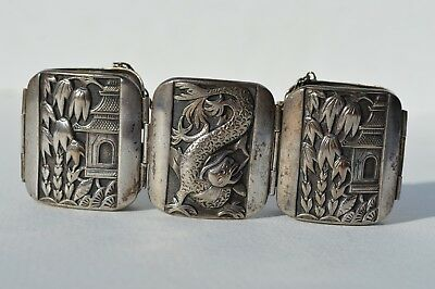 Ornate 3D Antique Chinese Silver Plated Bracelet Depicts Dragon, Oriental House