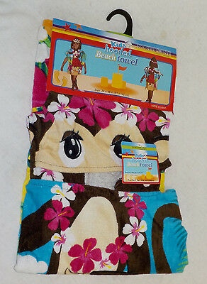 "Kids Hooded Beach Towel Northpoint NEW 24"" X 48"" 100% Cotton Multi Color Monkey"