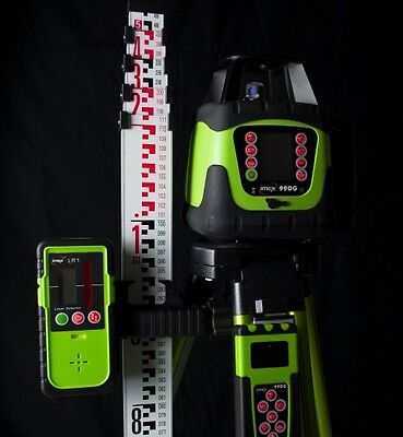 New IMEX 99DG Dual Grade Rotating Laser Level with Tripod & Staff
