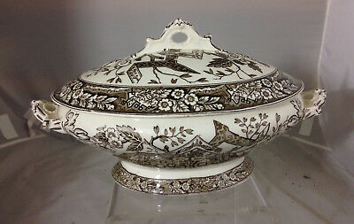 Antqiue 1880s Wedgwood & Co BEATRICE Oval Covered Vetegable Bowl Aesthetic Brown