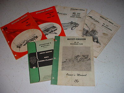 6 Vintage Operators Manuals John Deere International New Idea Massey Ferguson